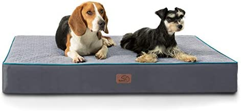 Bedsure XL Orthopedic Memory Foam Dog Beds for Extra Large Dogs, Tempurpedic Dog Bed, 2-Layer Thick Pet Bed Mattress with Removable Washable Cover and Waterproof Lining (44x32x4 Inches), Grey