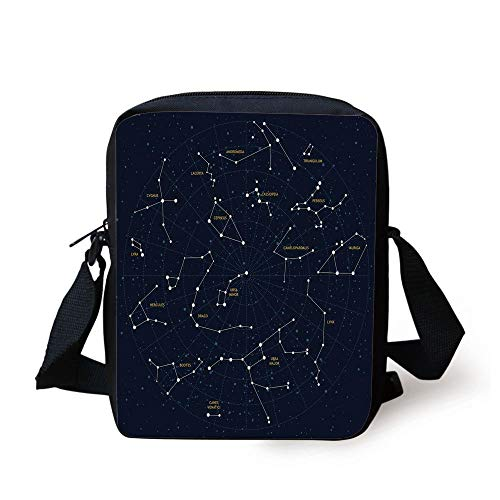 Constellation,Sky Map Andromeda Lacerta Cygnus Lyra Hercules Draco Bootes Lynx,Dark Blue Yellow White Print Kids Crossbody Messenger Bag Purse
