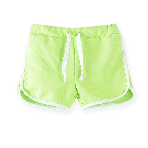 LaoZanA LaoZanA Kinder Jungen Mädchen Kordelzug Sommer Shorts Kurze Hose Hotpants Fluorescent Grün 130
