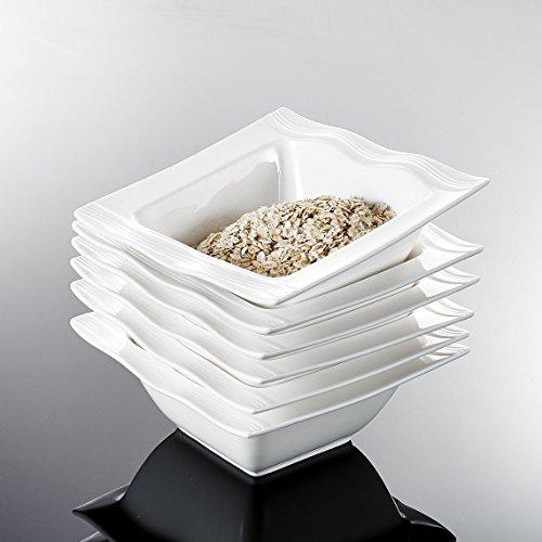 MALACASA, Serie Mario, 6 TLG. Set Cremeweiß Porzellan 5,5 Zoll / 14 * 14 * 5,5cm Schüssel Schalen Müslischüssel Reisschüssel Salatschüsseln Dessertschalen Bowl für 6 Personen