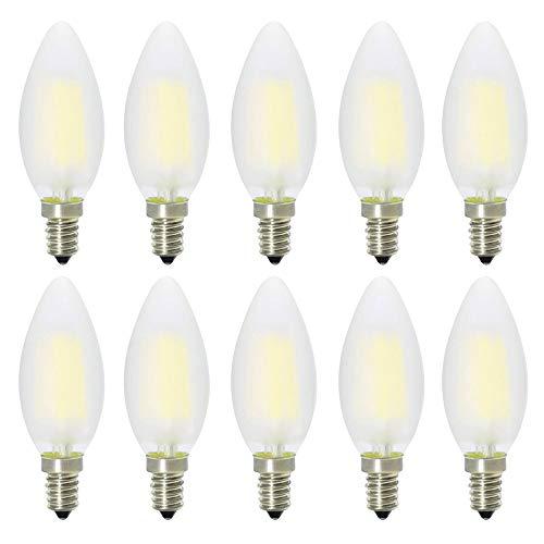 E14, LED-kaarsvorm, vervangt 40W gloeilampen, C35 4W, mat glas, 360 o stralingshoek, LED-lampen, LED-kaarslampen, LED-kaarsverlichting, LED-lampen, LED-lampen, pak van 10 stuks