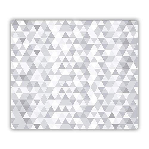 Tulup Vidrio Cubierta de la Cocina 60x52 cm Cerámica Placa de inducción Placa Protectora Tabla de Cortar para Cocina Resistente al Calor - - Triángulos Grises