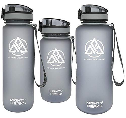 MIGHTY PEAKS Tritan Sport-Trinkflasche 500ml | BPA frei | Fruchteinsatz, Fruchtsieb | Auslaufsicher | Trinkflasche Kinder | Sportflasche | Plastikflasche | Weithalsflasche | Wasserflasche 500ml