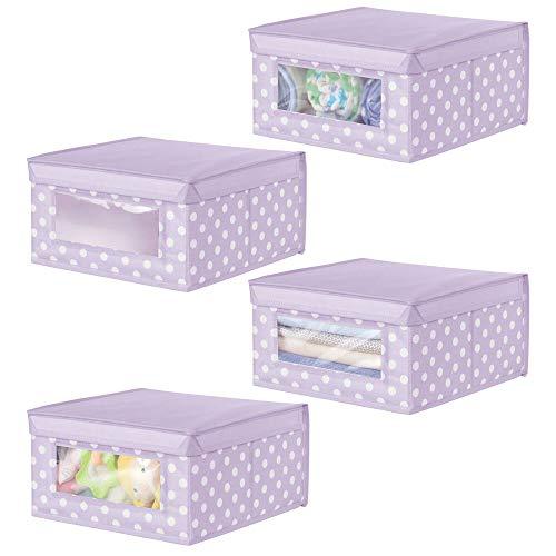 mDesign Juego de 4 Cajas organizadoras de Tela – Caja de almacenaje apilable para ordenar armarios, Ropa o Accesorios de bebé – Organizador de armarios con Tapa y ventanilla – Lila Claro y Blanco