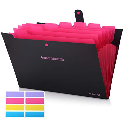 Skydue Accordian File Organizer, Expanding Folders with Pockets, Accordion Document Letter Organizer 8 Pockets (Black)