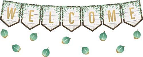 Teacher Created Resources Eucalyptus Pennants Welcome Bulletin Board (TCR8472)