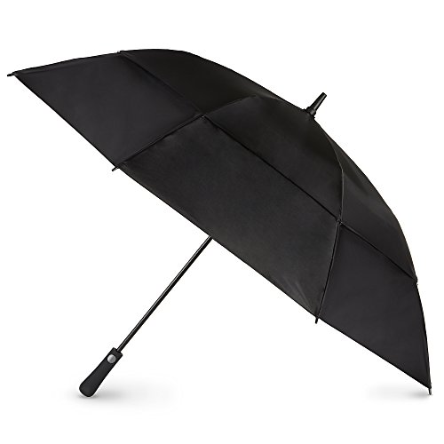 totes Automatic Open Extra Large Vented Canopy Golf Stick Umbrella, Black
