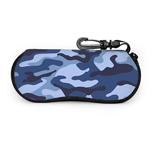 Estuche para gafas Casos de gafas Militar Camuflaje sin costuras Patrón de color azul Estuche de gafas de sol Funda de neopreno con cremallera suave Bolsa de gafas de sol de protección Bolsa