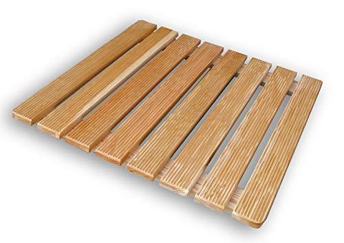 Castelmerlino Tarima para ducha en listones de alerce atornillados 68x68 cm para platos de ducha 90x90 cm
