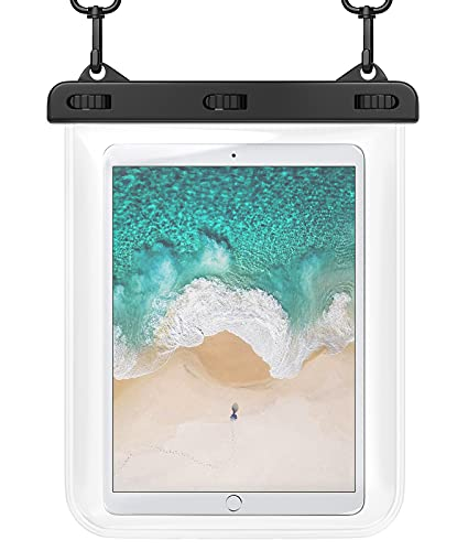 """HeySplash Universal Waterproof Case, Underwater Tablet Dry Bag Pouch with Lanyard, Compatible with iPad Pro, iPad Air, iPad Mini, GalaxyTab S6Lite, Huawei Honor Tablet and Phone More Up to 12"""", Clear"""