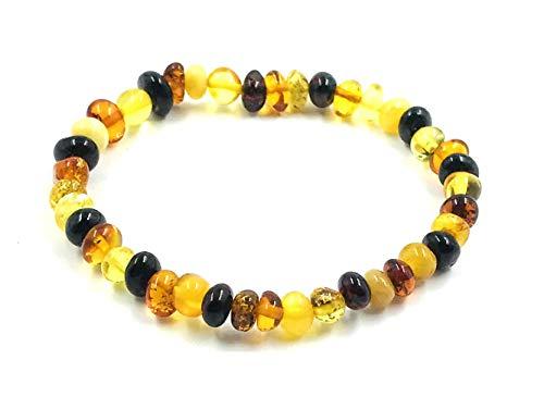 Amber Jewelry Shop Pulsera de ámbar báltico natural sobre elástico de 19 cm, multicolor, fabricada con auténticas cuentas de ámbar