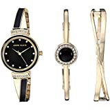 Anne Klein Women's AK/3292BKST Swarovski Crystal Accented Gold-Tone and Black Watch and Bangle Set