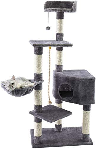 Amazon Brand – Eono Katzenbaum Sisal Kratzbaum Kletterbaum Kratzbäume mit Höhle Liegemulde Liegeflächen Spielzeug Ball Höhe 139cm Grau für Kätzchen Ausgewachsene Katzen Grau