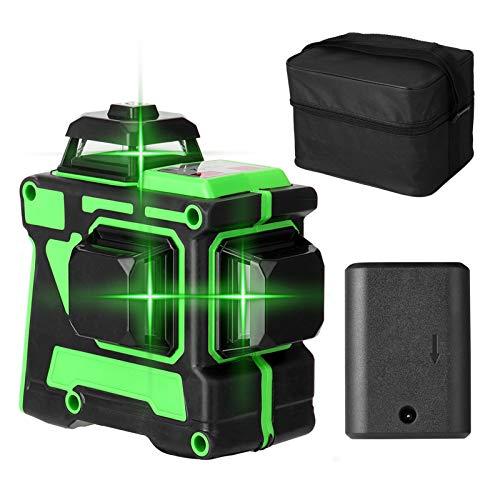 3D 12 líneas Nivel láser KKmoon Herramienta de nivel láser Nivelación automática Base de elevación Nivelador laser multifuncional Niveles laser verde Líneas horizontales verticales