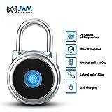 JWMGKJ Thumbprint Fingerprint Padlock IP65 Waterproof Keyless Electric Security Lock for Locker, Handbags, Wardrobes, Gym, Door, Luggage, Suitcase, Backpack, Bike, Office,Golf Bags