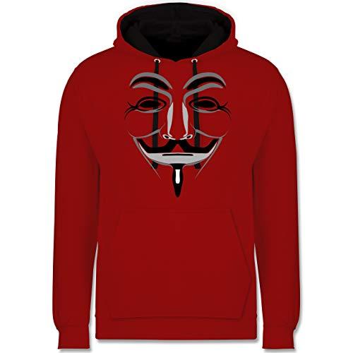 Shirtracer Nerds & Geeks - Anonymous Maske - S - Rot/Schwarz - Anonymous Hoodie - JH003 - Hoodie zweifarbig und Kapuzenpullover für Herren und Damen