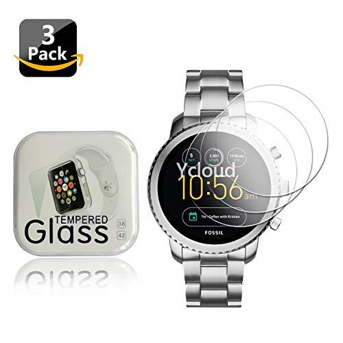 Ycloud [3 Stück Panzerglas Folie Schutzfolie Bildschirmschutzfolie für Fossil Q Explorist 3.Generation Smartwatch mit Festigkeitgrad 9H, 0,26mm Ultra-Dünn, Abger&ete Kanten
