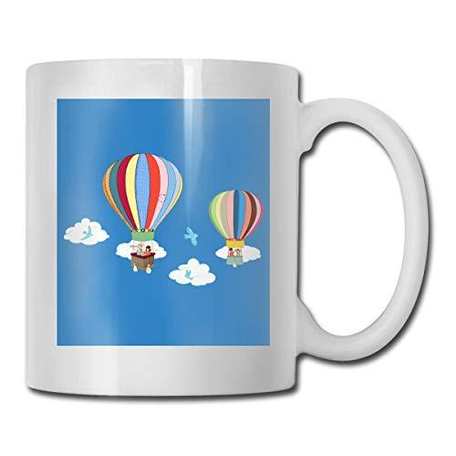 Taza de globos de aire caliente, taza de café para bebidas calientes, taza de gres, taza de café de cerámica, taza de té de 11 oz, regalo divertido, taza de té y café