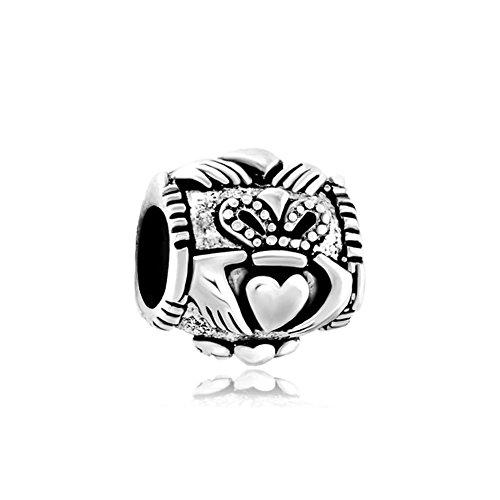 CharmsStory Sterling Silver Celtic Friendship Claddagh Best Friend Charm Beads For Bracelets