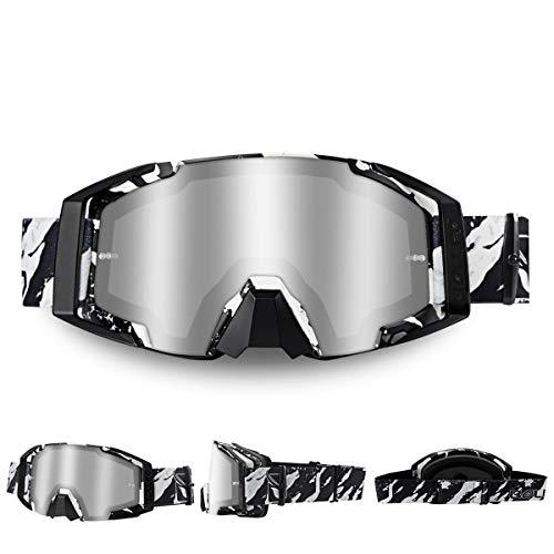 WholeFire Gafas de Motocicleta, ATV Dirt Bike Off Road Racing MX Riding Goggle, UV400 para Ciclismo, Motocross para Deportes al Aire Libre, Gris