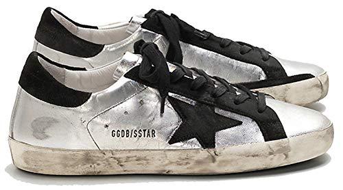 Golden Goose Casual Sport Sneakers Damen Retro Leder Schuhe Low Top Slide, Schwarz - Schwarzer Star - Größe: 39 EU