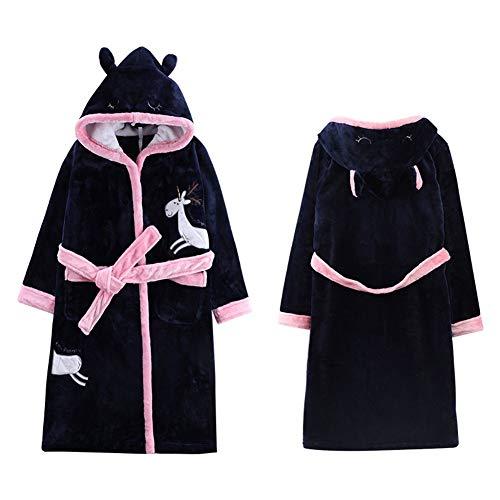 XHRHao Kapuzenrobe Einhorn Morgenmantel Nachthemd Bademantel Handtuch Pajamast (Farbe : Navy, Größe : XL)