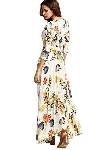 Milumia Women's Button Up Split Floral Print Flowy Party Maxi Dress Medium Beige_Yellow