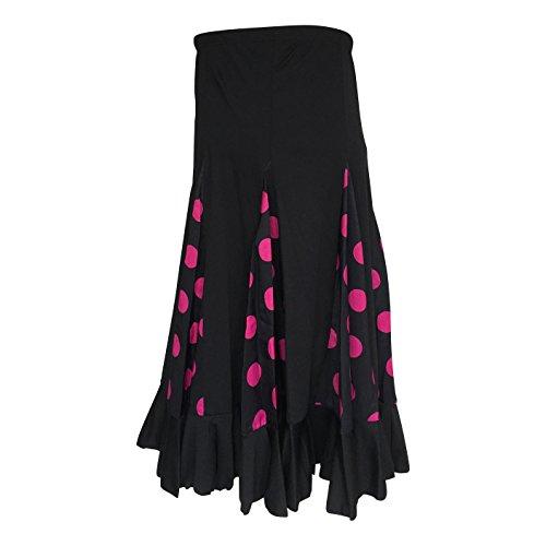 La Seña Flamenco Rock kinderen Spaanse jurken zwart met roze stippen