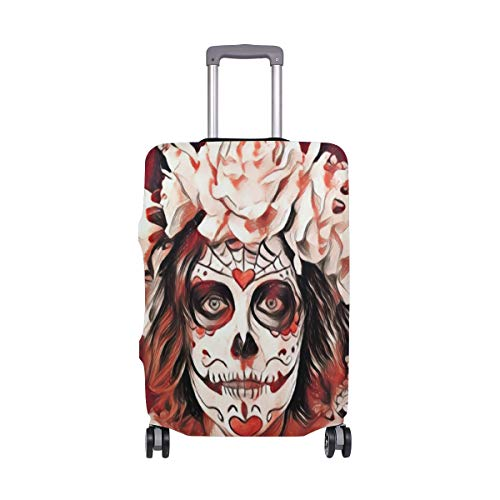 Montoj - Funda para maleta de maleta, diseño de calavera de rosa