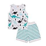 Niño Bebé Niño 2pcs 100% Algodón Ropa De Verano De Dibujos Animados Chaleco Camiseta Tanque Tops Rayas Playa Pantalones Cortos