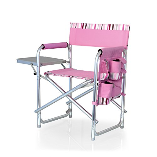 Uniprodo Sports Chair Folds w/Table & Pockets Pink w/Stripes