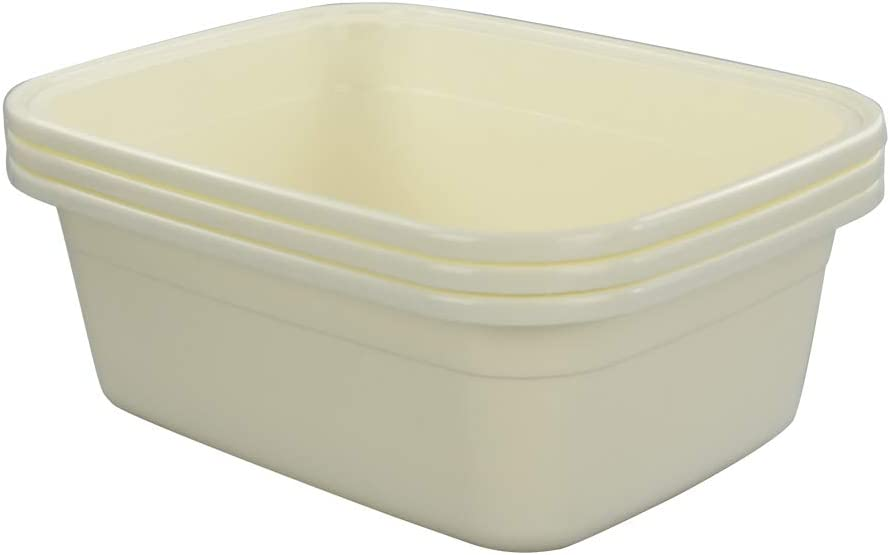 Nicesh 18 Quart Large Dish All items in the store Pan Tub Commercial latest Bus 3-Pack Cream