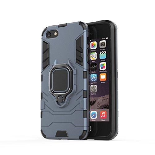 Kompatibel mit iPhone 5 Hülle Ultraslim 2 in 1 Hart PC+Soft TPU Silikon handyhülle Lightweight Anti-Drop Weich Bumper schutzhülle mit Slim fit magnetisch 360 ° Ring Halterung Case (Blau)