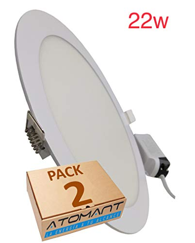 LED Atomant Pack 2 x paneel downlight LED rond PLUS 22 W, neutraal wit (4500 K), 2000 lumen, standaard snit 200 mm, 225 mm