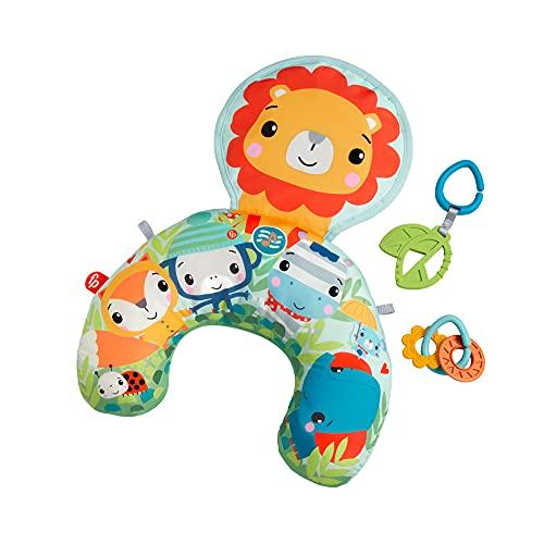 Fisher-Price León Cojín con música y vibraciones relajantes para bebé, incluye mordedor y actividades (Mattel GWY91)