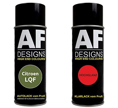 Autolack Spraydose Set für Citroen LQF Vert Absinthe Nacre Metallic Basislack Klarlack Sprühdose 400ml