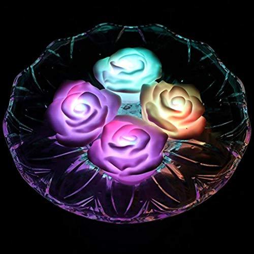 Mobestech LED schwimmende Kerzen wasserdicht schwimmende Rose geformt LED Kerzen Whirlpool Lichter für Hochzeit Flitterwochen Valentinstag 2St