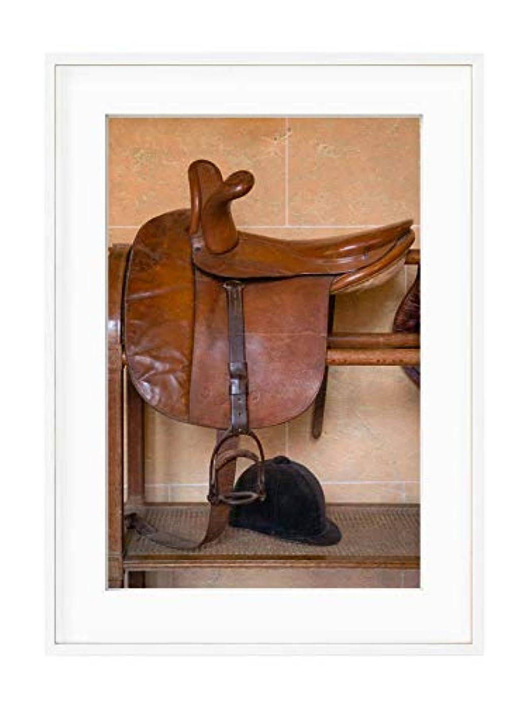 Horse Saddle, Black Satin Aluminium Frame, with Mount, Multicolored, 50x70