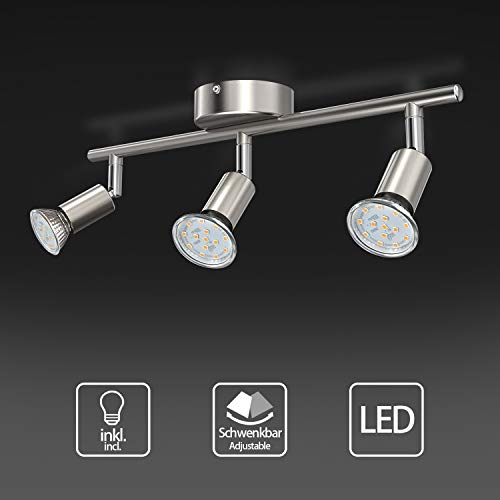 Uchrolls LED Deckenleuchte Schwenkbar, 3 Flammig, inkl. 3 x 3.5W Leuchtmittel GU10 LED, 380LM, Warmweiß, LED Deckenlampe LED Deckenspot LED Deckenstrahler LED Leuchte