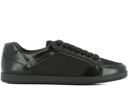 Prada Sneaker Scarpe Lace Up da Uomo Nylon Spazzolato 4e3090 Nero