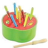 Abacus juguete temprano fruta captura gusanos juegos bebé bebé rompecabezas magnético divertido para atrapar gusanos Caterpillar Diaodiao Joy para niños juguetes educativos (Color: Rojo) Desarrollar I