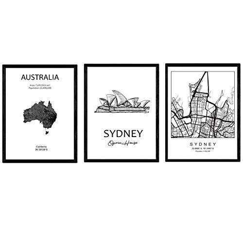 Pak posters en monumentenlanden. Sydney City Map, Map Monument Harbour Bridge Australië B. A3-formaat