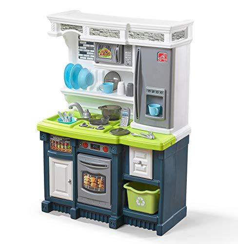 Step2 Lifestyle Custom Kitchen | Plastic Play Kitchen & Toy Accessories Set | Blue & Green Kids Kitchen Playset, Blue, White & Green