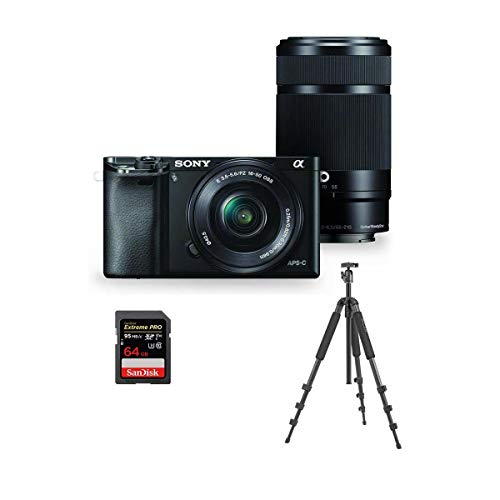 Sony Alpha A6000 Mirrorless Camera with 16-50mm f/3.5-5.6 OSS & 55-210mm f/4.5-6.3 OSS Lenses, Black Bundle with Slik Pro II 4-Section Aluminum Tripod with BallHead, 64GB SDXC U3 Card