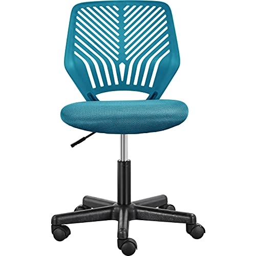 Yaheetech Turquoise Home Office Chair Adjustable Desk Chair Armless Computer Chair Task Chair Comfy Swivel Chair for Home Work or Study