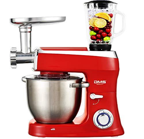 DMS Robot da cucina 3 in 1, impastatrice 7,5 litri, ciotola in acciaio inox, paraspruzzi, mixer, tritacarne, impastatrice, 6 livelli di velocità, 2100 Watt, nero, KMFB-2100 Nero