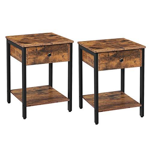 HOOBRO Nachttisch, 2er Set Nachtschrank, Beistelltisch mit Schubladen und Ablage, Nachtkommode Tisch im Industrie-Design, Schlafzimmer, Wohnzimmer, einfacher Aufbau, Dunkelbraun EBF40BZP201