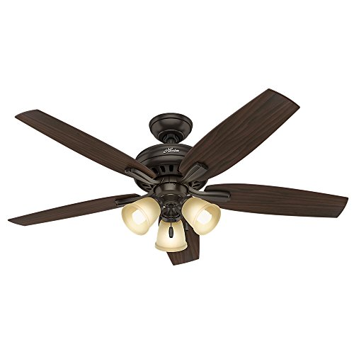 HUNTER 53317 Indoor Ceiling Fan with LED Lights and Pull Chain Control, 52', Premier Bronze