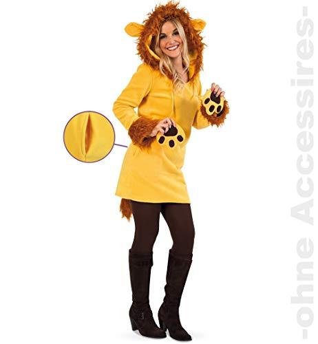 Party-Chic- Disfraz de león para Mujer, Parte Superior con Capucha, Talla 42. (Fritz Fries & Söhne GmbH 13664)