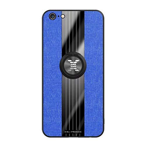 Fanxwu Compatibile con Custodia iphone 6 Plus/6S Plus TPU Silicone Ultra Sottile Case con 360°Rotazione Ring Holder Anti Graffio Protettivo Cover - Blu